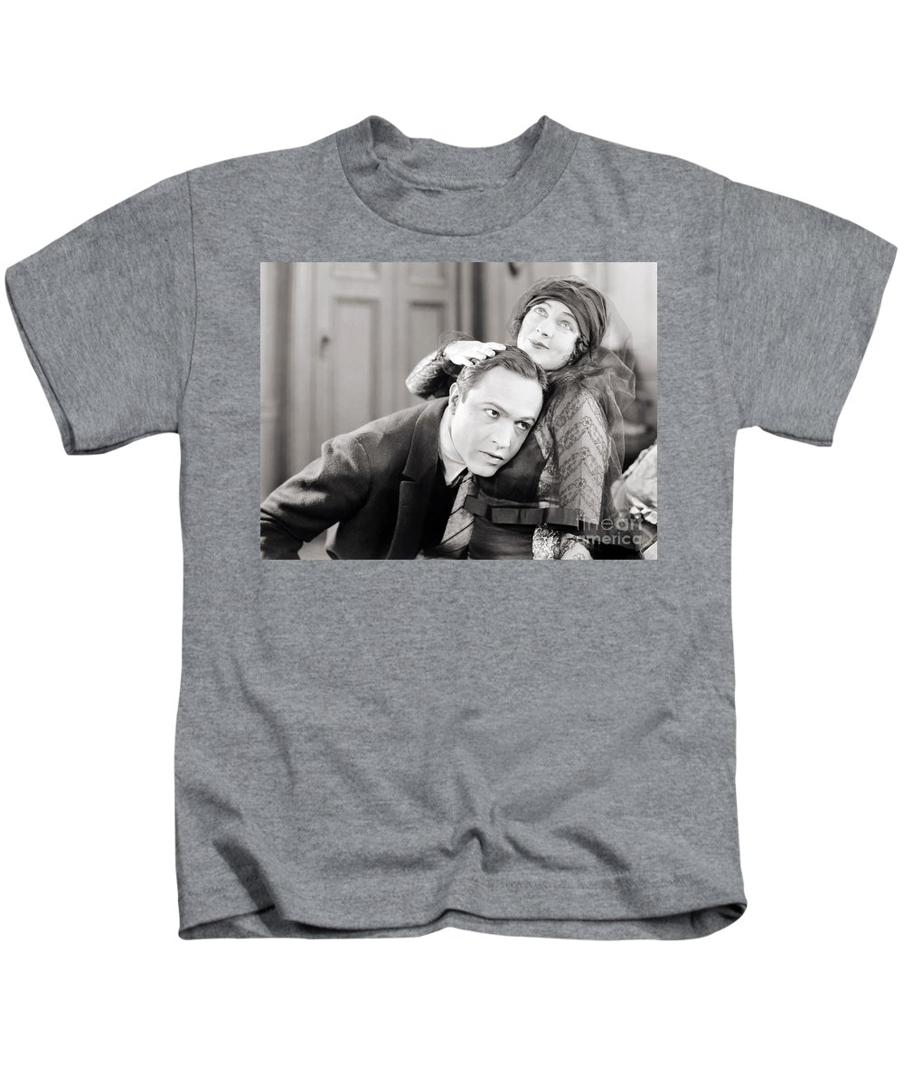 -couples- Kids T-Shirt featuring the photograph Silent Film Still: Couples by Granger