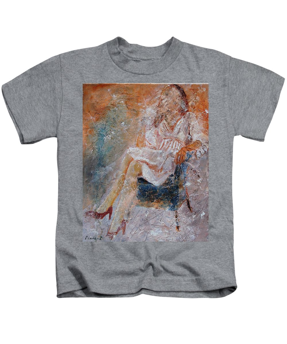 Girl Kids T-Shirt featuring the painting Sitting Young Girl by Pol Ledent