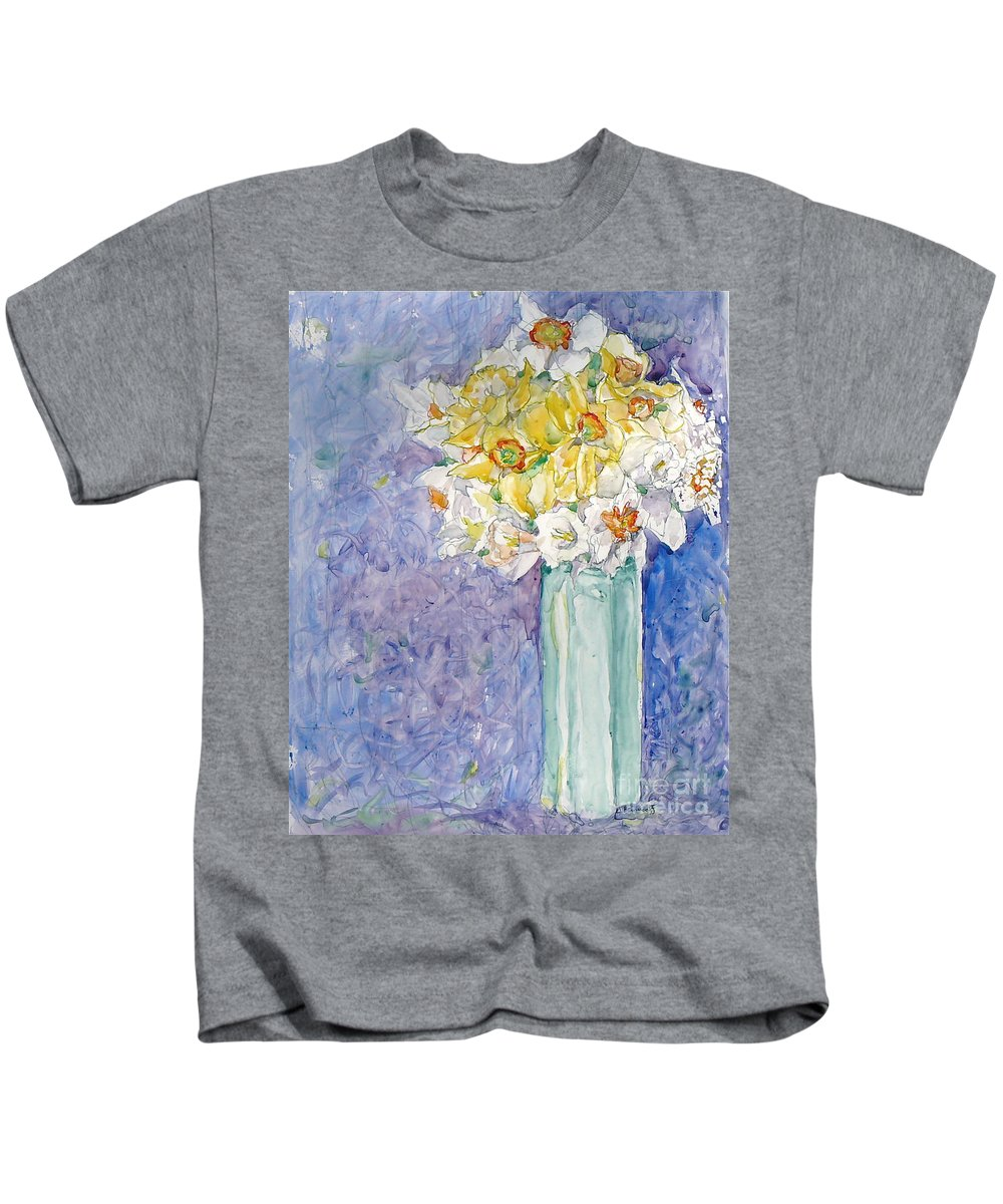 Watercolor Kids T-Shirt featuring the painting Spring Blossoms by Jan Bennicoff