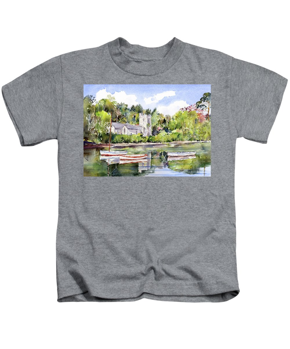 Church Kids T-Shirt featuring the painting St Just In Roseland Church by Margaret Merry