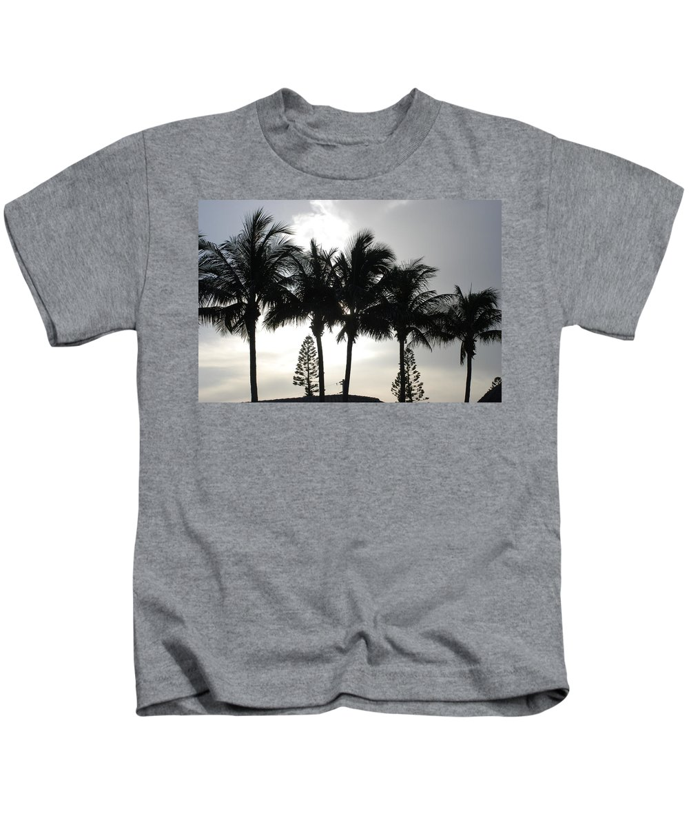 Sky Kids T-Shirt featuring the photograph Sunset Thru The Trees by Rob Hans