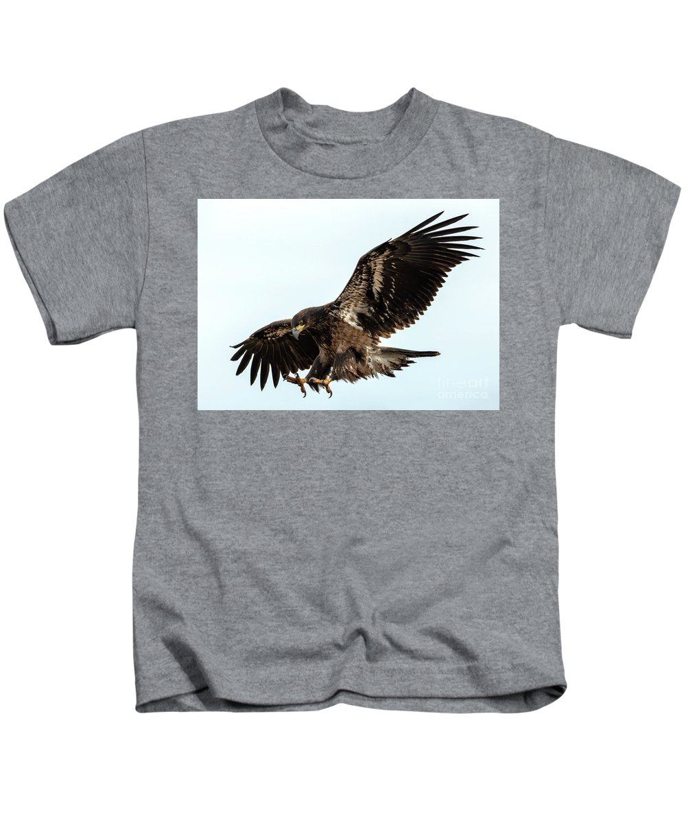 Bald Eagle Kids T-Shirt featuring the photograph Talons First by Mike Dawson