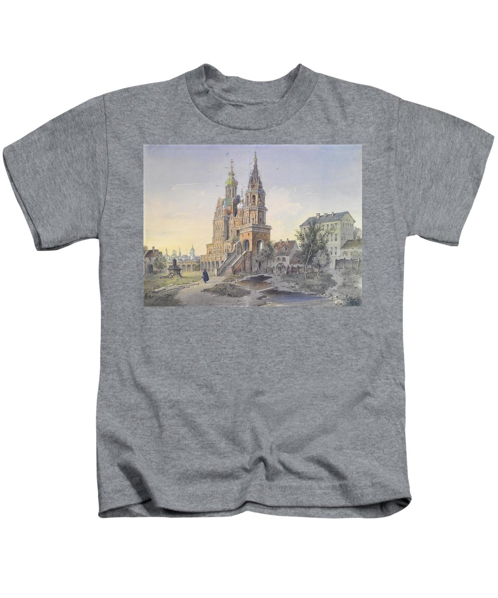 Joseph Andreas Weiss(freising 1814 - Munich 1887) Kids T-Shirt featuring the painting The Church Of The Dormition by Joseph Andreas