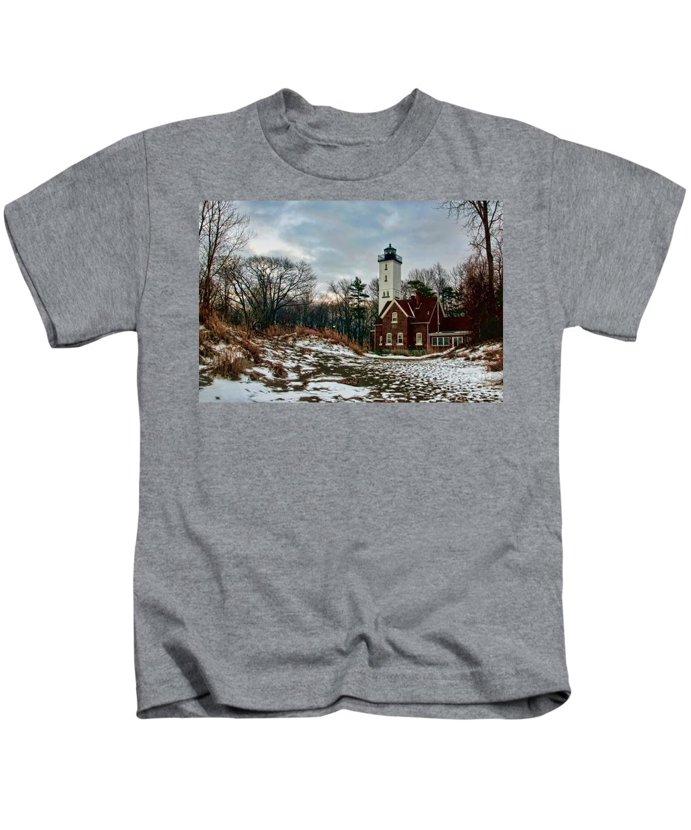 Lighthouse Kids T-Shirt featuring the photograph The Lighthouse by Gaby Swanson