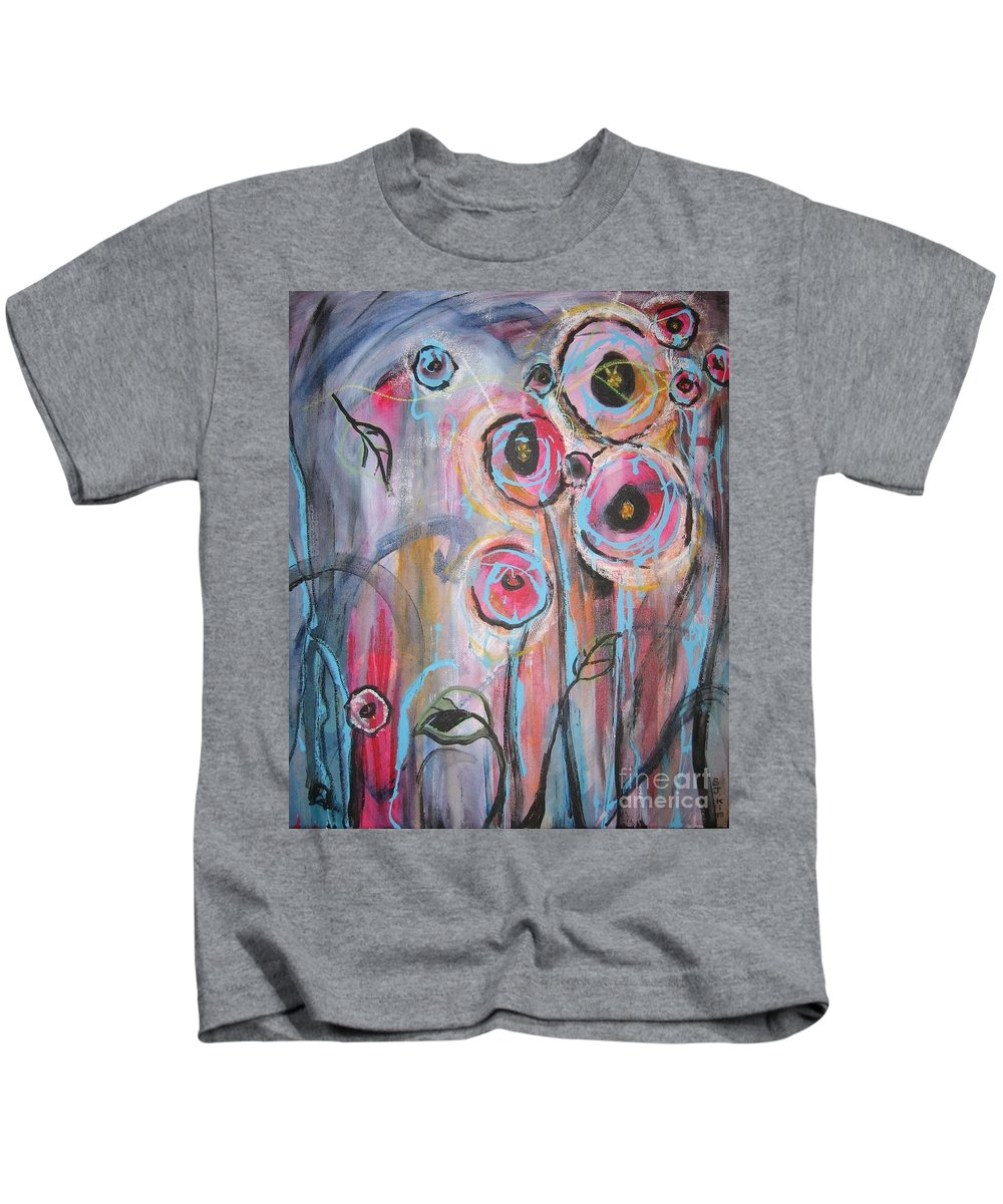 Aabstract Paintings Kids T-Shirt featuring the painting Too Many Temptations by Seon-Jeong Kim