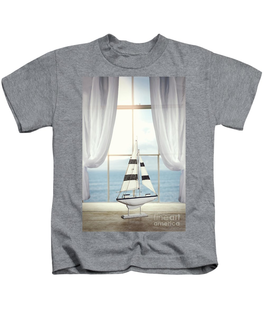 Toy Kids T-Shirt featuring the photograph Toy Boat In Window by Amanda Elwell