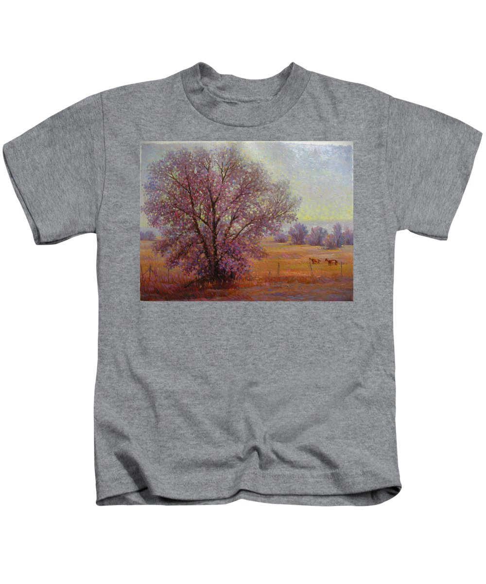 Kids T-Shirt featuring the painting Tree by Deliang Ma