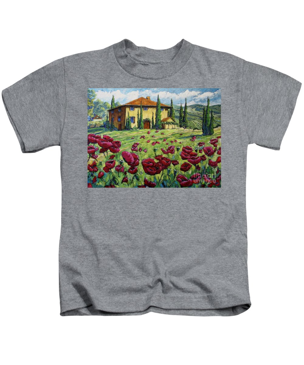 Art Kids T-Shirt featuring the painting Tuscan Poppies by Richard T Pranke