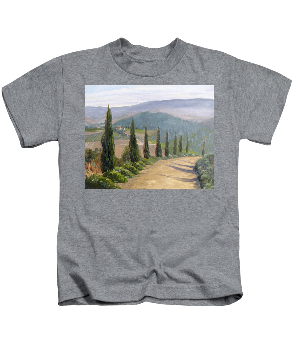 Landscape Kids T-Shirt featuring the painting Tuscany Road by Jay Johnson