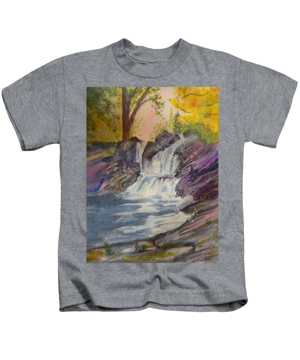 Twin Waterfalls Kids T-Shirt featuring the painting Twin Peaks by Donna Cary
