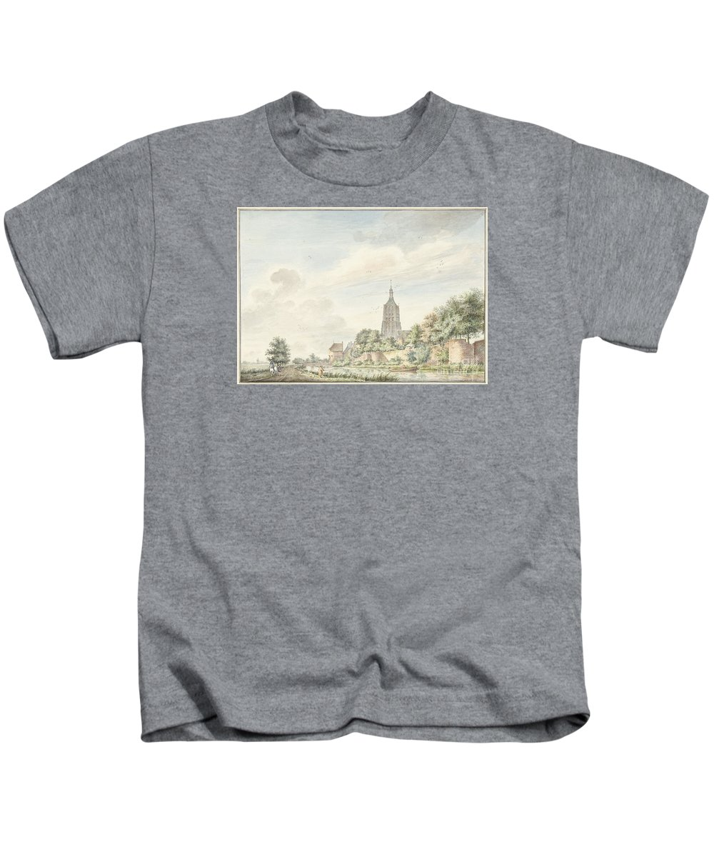 View Asperen With The City Walls And The Steeple Kids T-Shirt featuring the painting View Asperen With The City Walls And The Steeple by Celestial Images