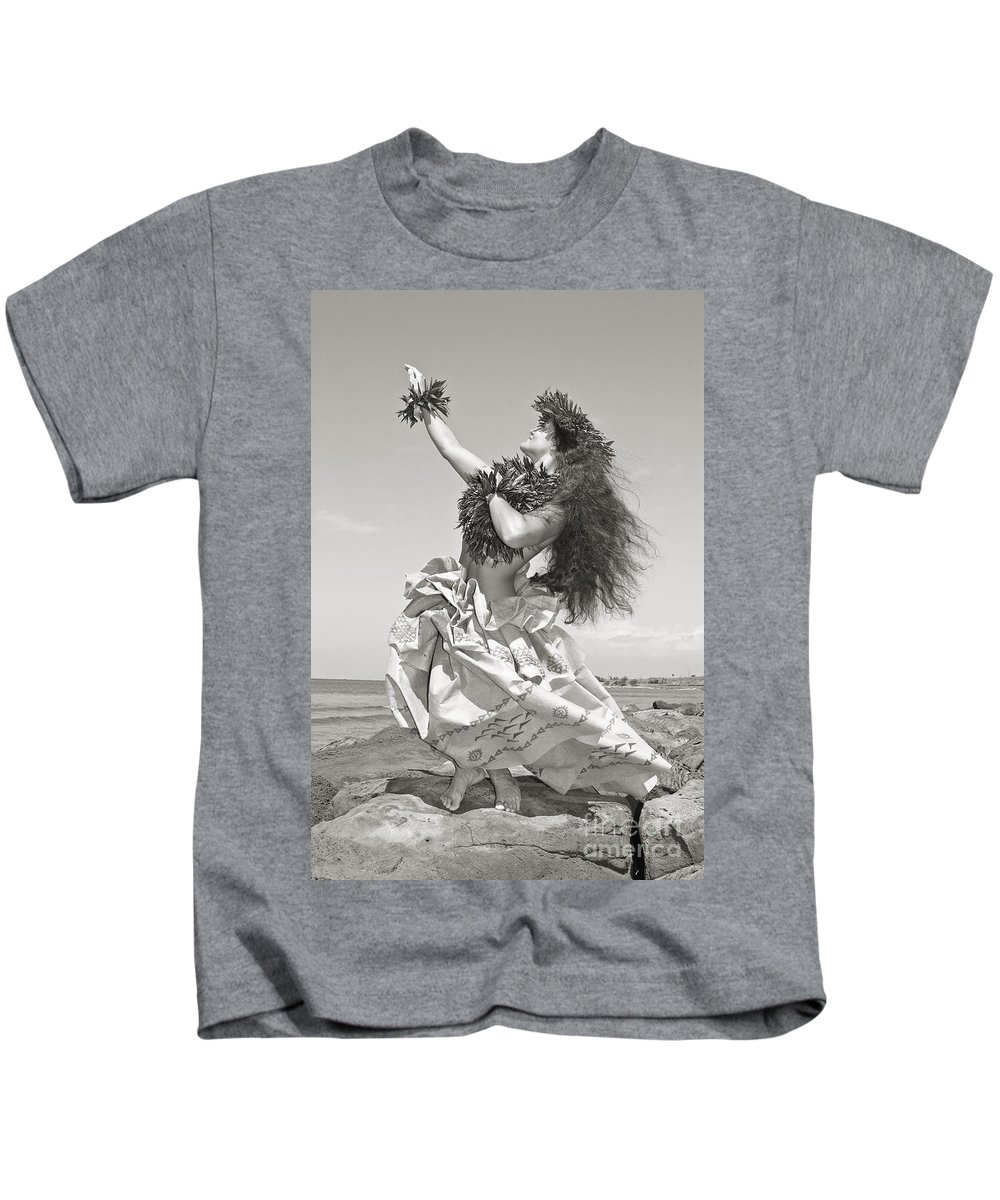 Active Kids T-Shirt featuring the photograph Wahine Hula by Himani - Printscapes