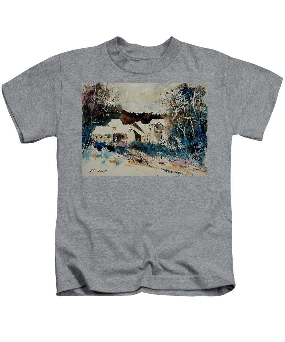 Winter Kids T-Shirt featuring the painting Watercolor 902040 by Pol Ledent
