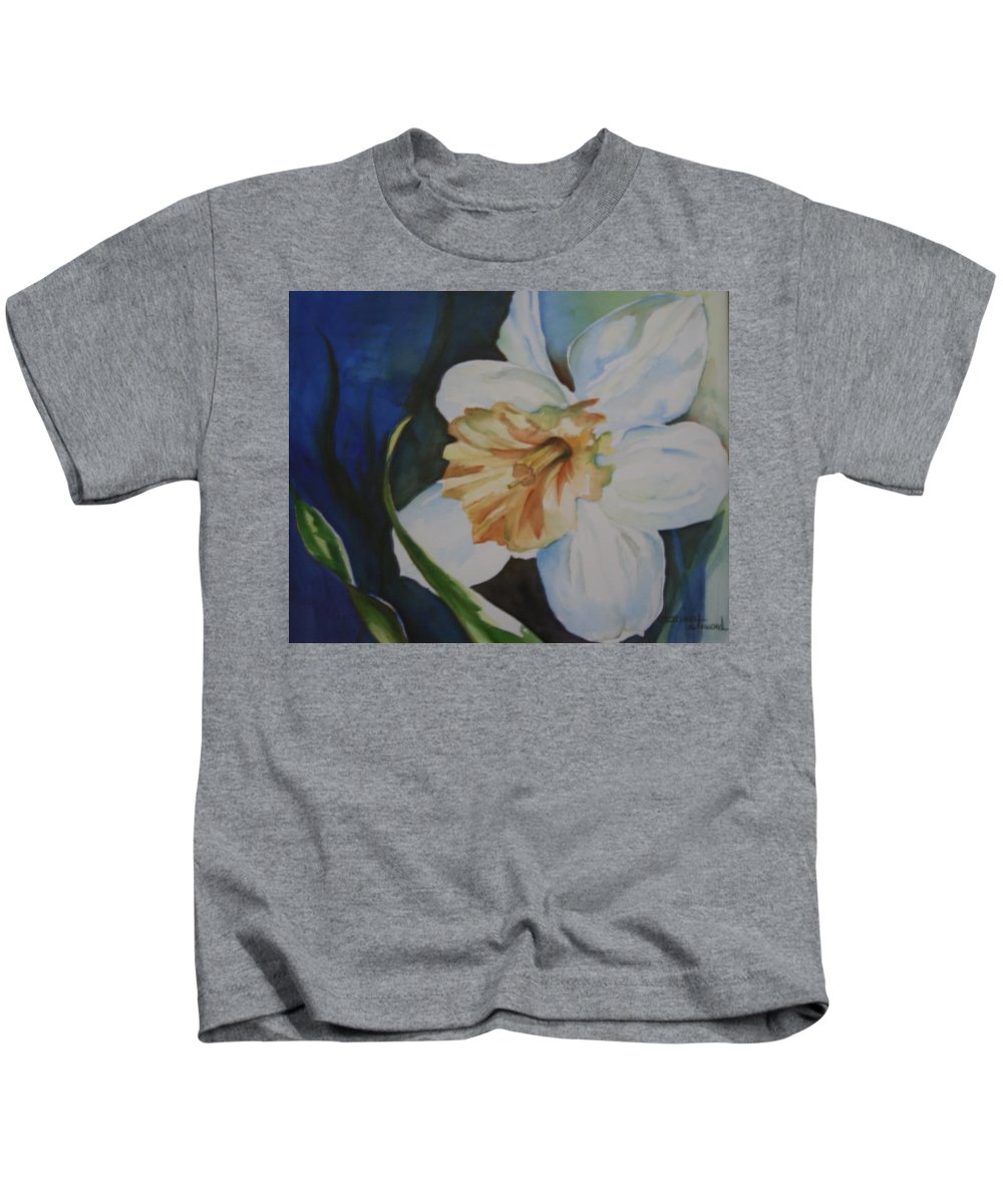 Blue Kids T-Shirt featuring the painting White Lace by Donna Steward