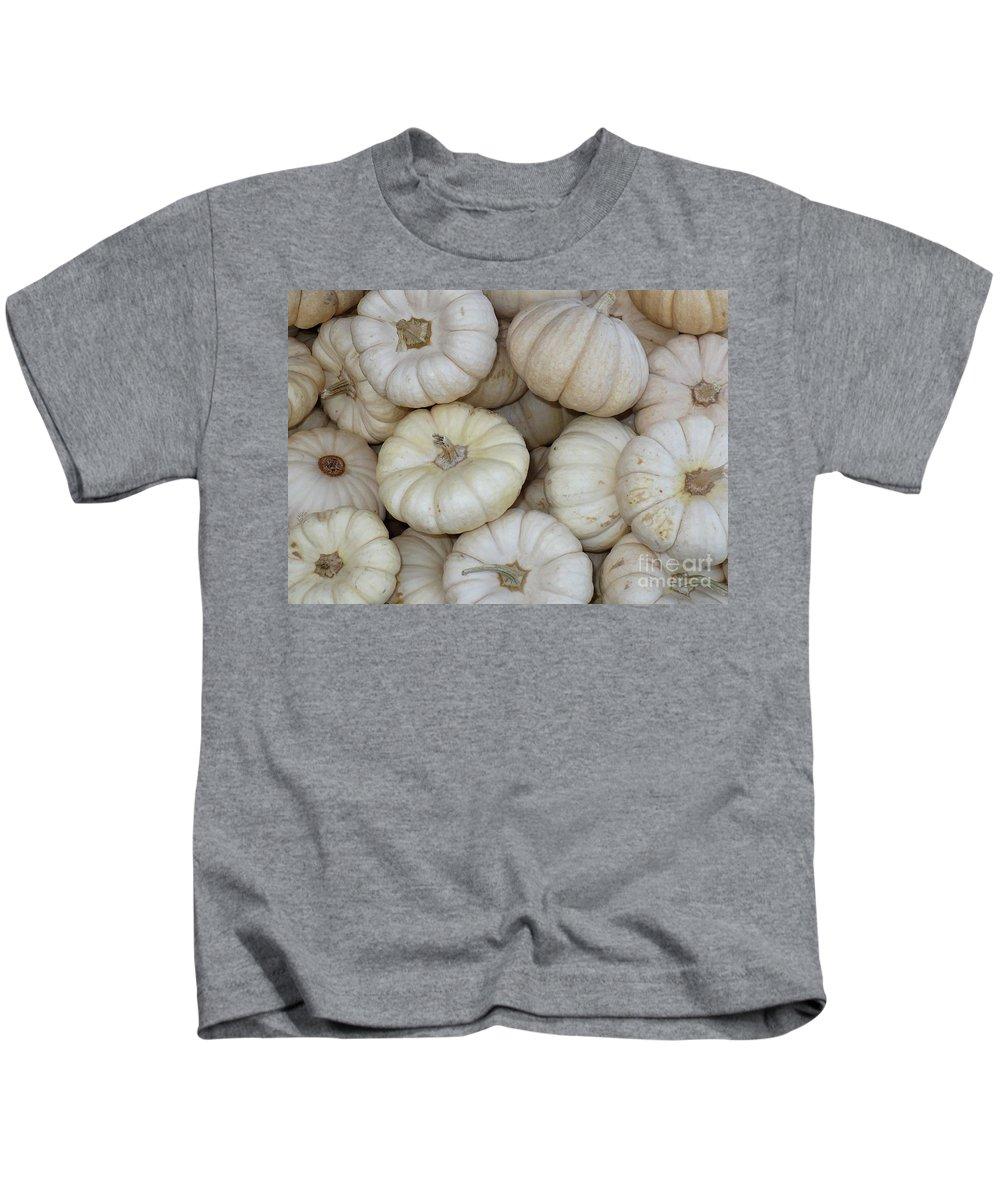 Fall Kids T-Shirt featuring the photograph White Pumpkins by Carol Groenen