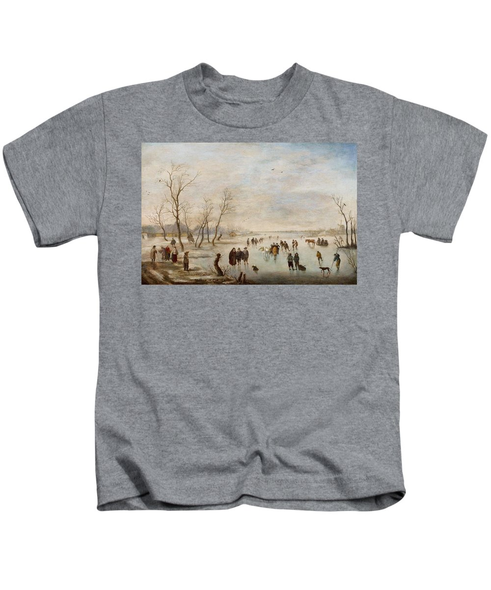 Anthonie Verstralen Kids T-Shirt featuring the painting Winter Landscape by Anthonie Verstralen