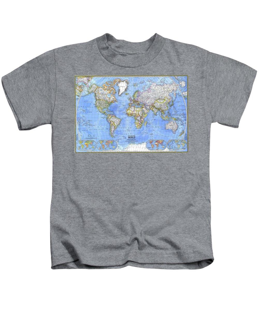 World Map Kids T-Shirt featuring the digital art World Map by Dorothy Binder