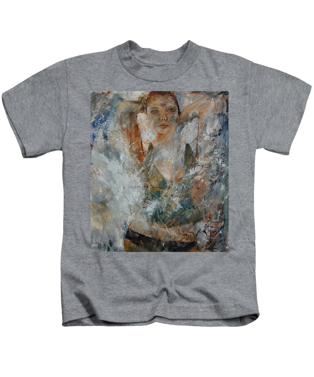 Girl Kids T-Shirt featuring the painting Young Girl 679080 by Pol Ledent
