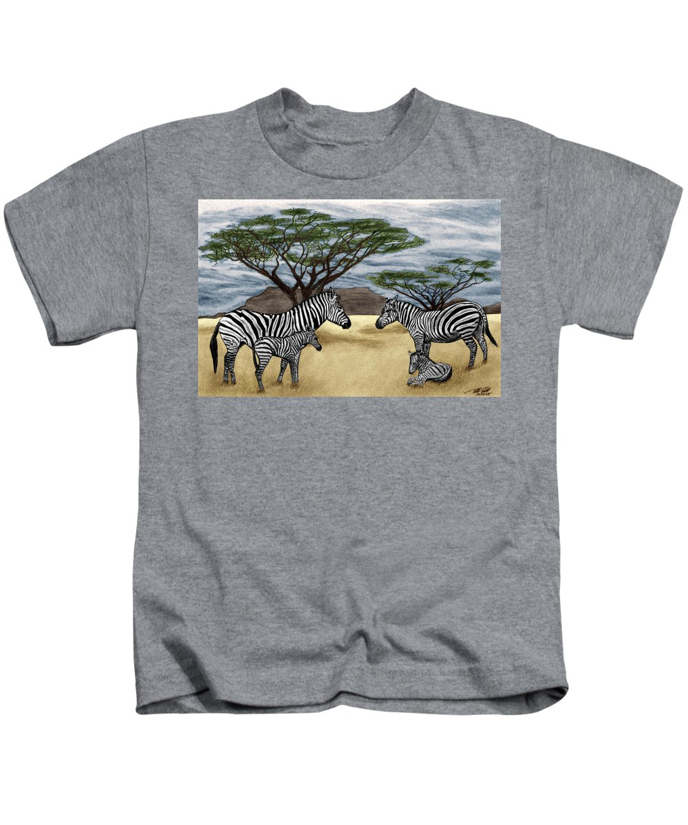 Zebra African Outback Kids T-Shirt featuring the drawing Zebra African Outback by Peter Piatt