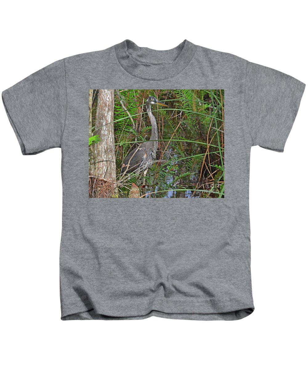 Great Blue Heron Kids T-Shirt featuring the photograph 100- Great Blue Heron by Joseph Keane