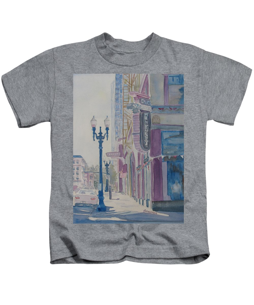 Landscape Kids T-Shirt featuring the painting 10th And Washington Or The Carpet Seller by Jenny Armitage