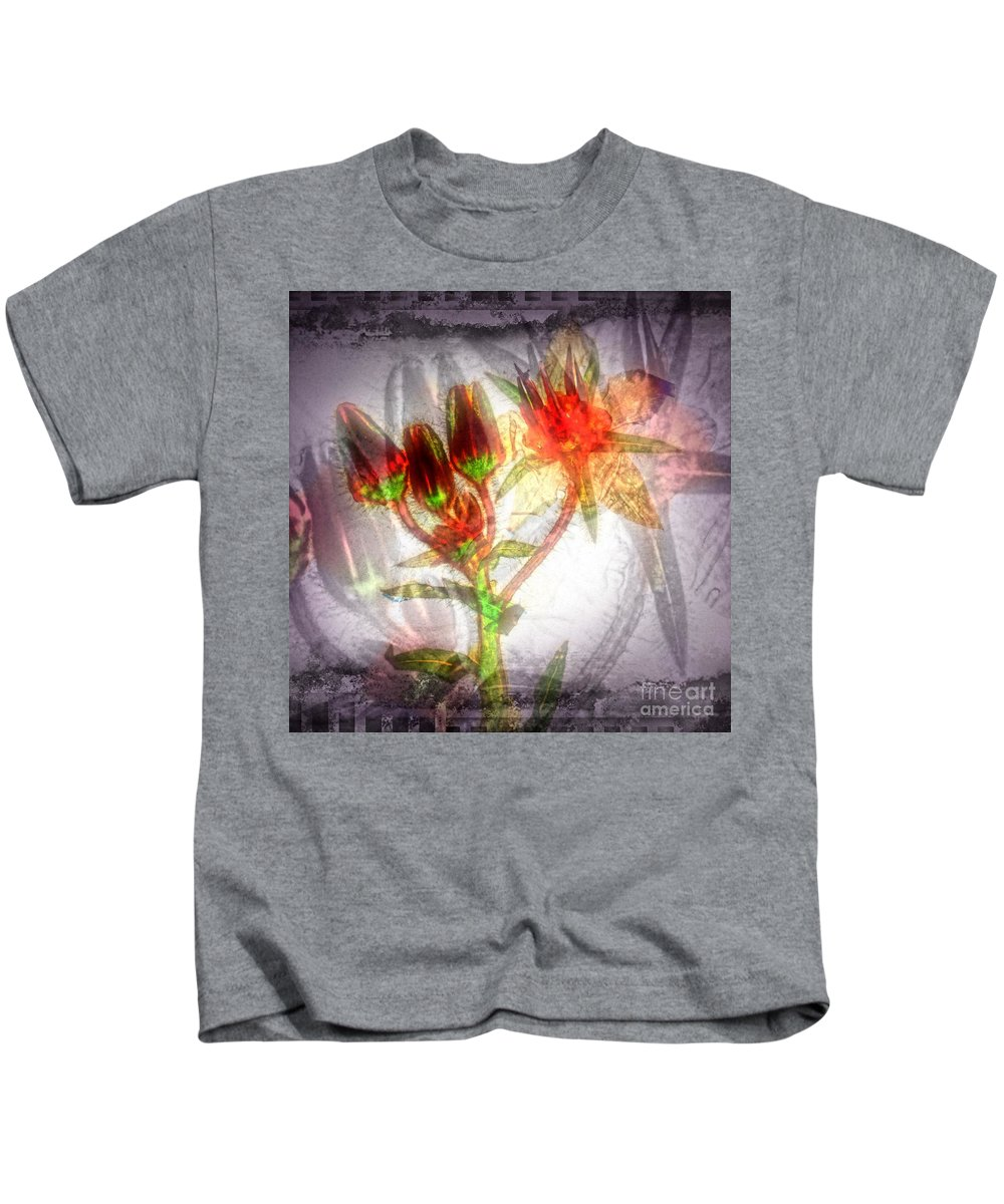 Flower Kids T-Shirt featuring the digital art 11305 Flower Abstract Series 03 #5 by Colin Hunt