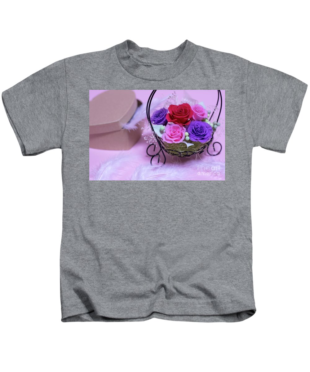 Valentine Kids T-Shirt featuring the photograph A Gift Of Preservrd Flower And Clay Flower Arrangement, Colorful by Eiko Tsuchiya