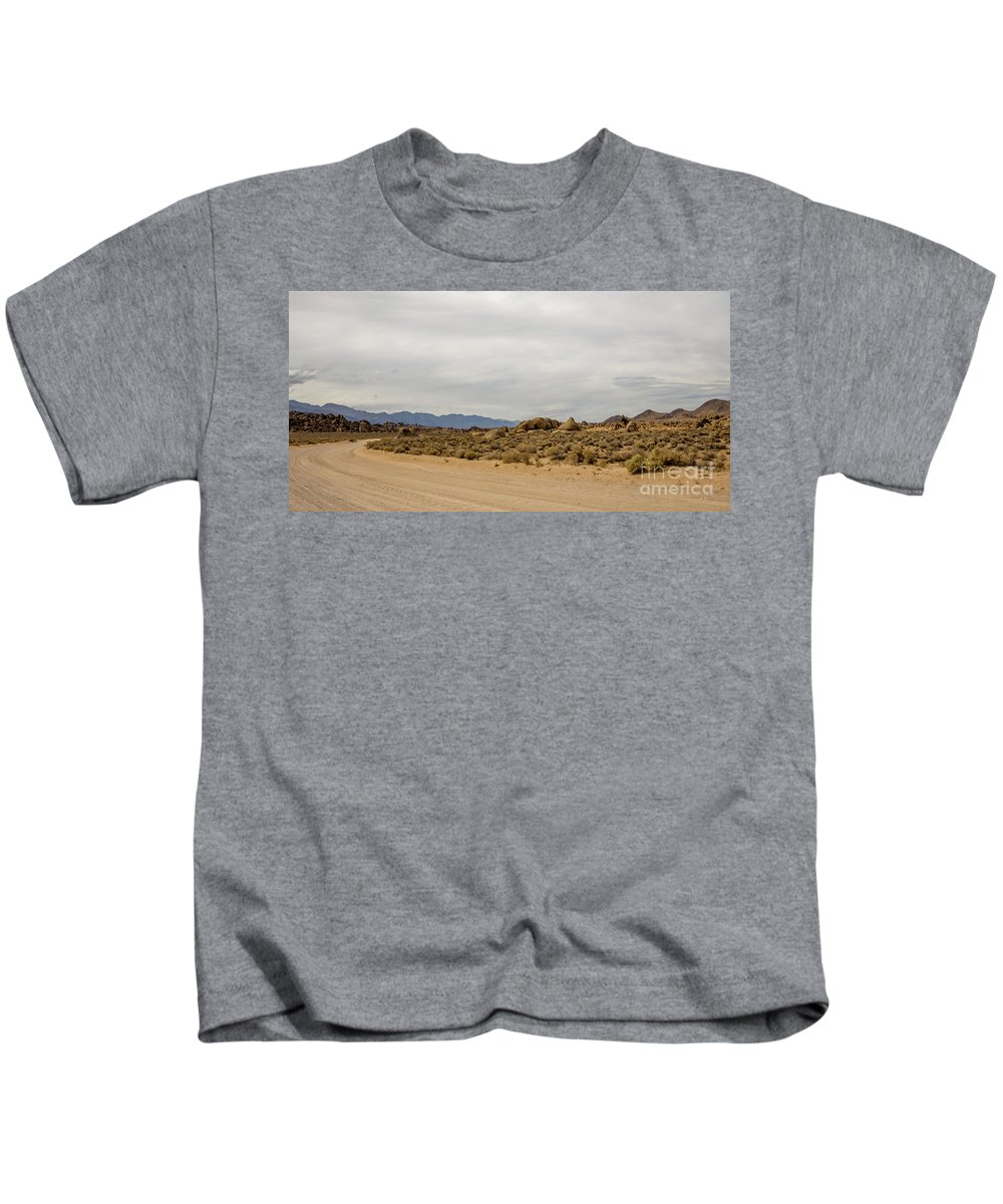 395 Kids T-Shirt featuring the photograph Rocks, Mountains And Sky At Alabama Hills, The Mobius Arch Loop by Eiko Tsuchiya
