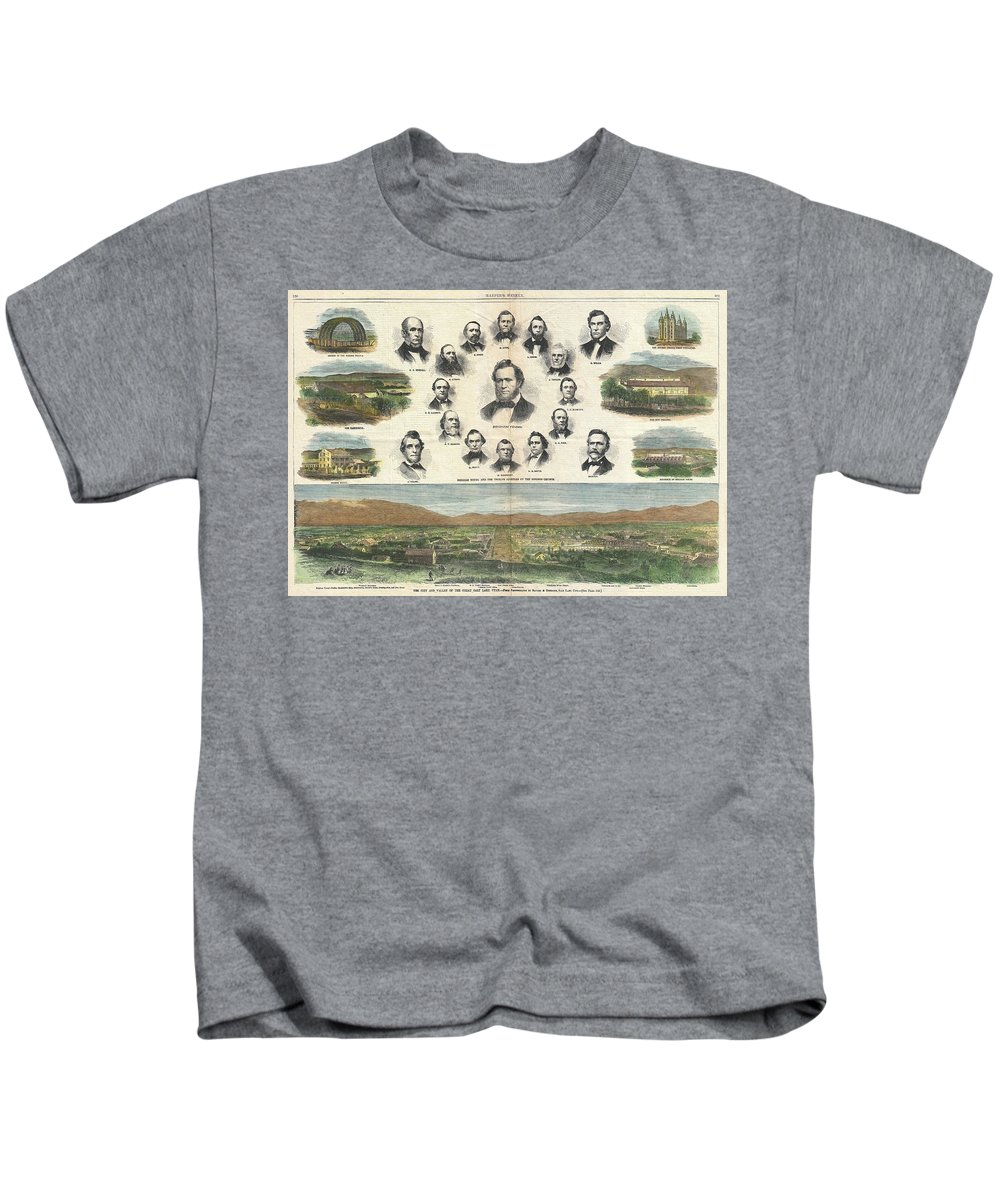 1866 Harper's Weekly View Of Salt Lake City Kids T-Shirt featuring the photograph 1866 Harpers Weekly View Of Salt Lake City Utah W Brigham Young Mormons by Paul Fearn
