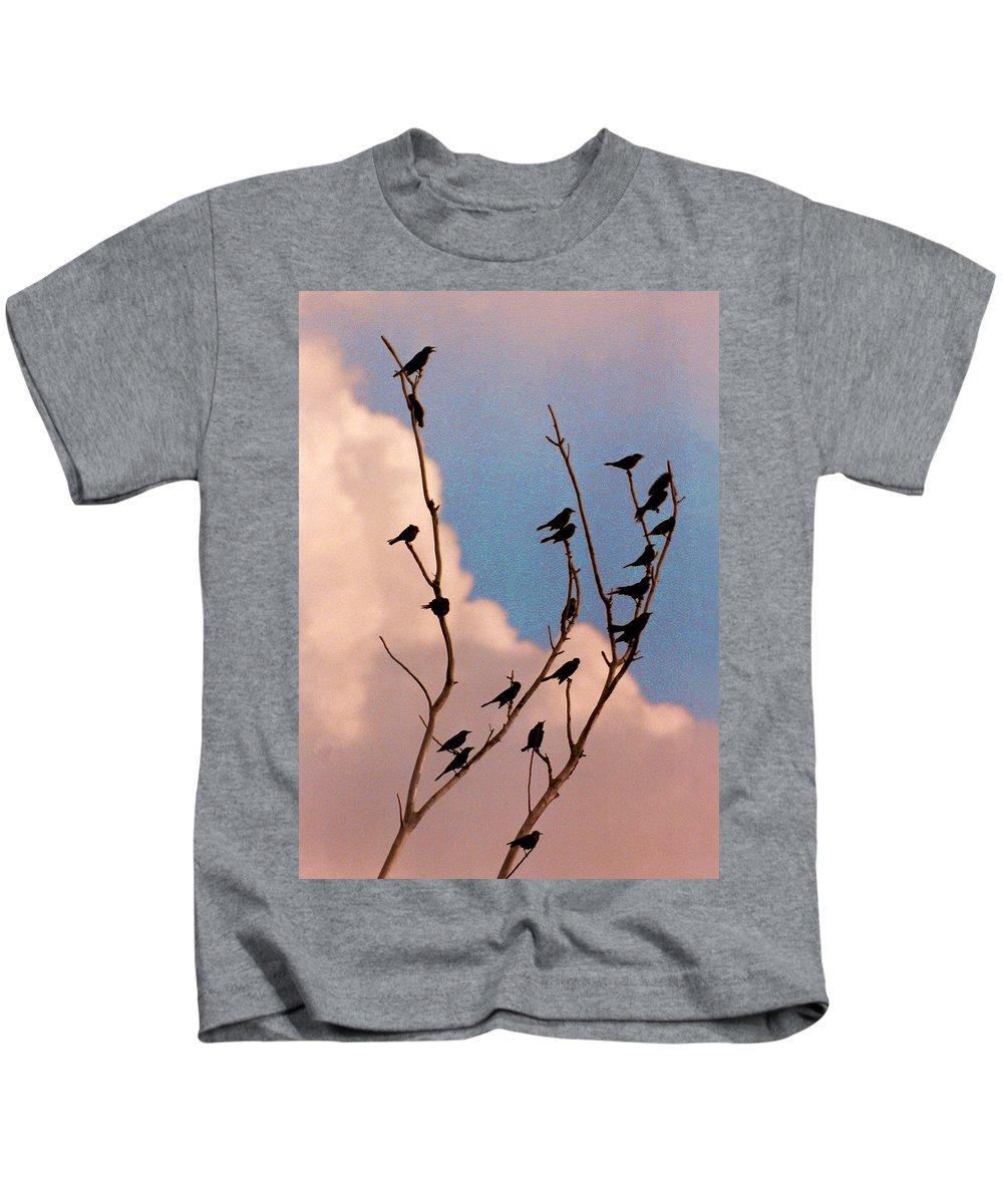 Birds Kids T-Shirt featuring the photograph 19 Blackbirds by Steve Karol