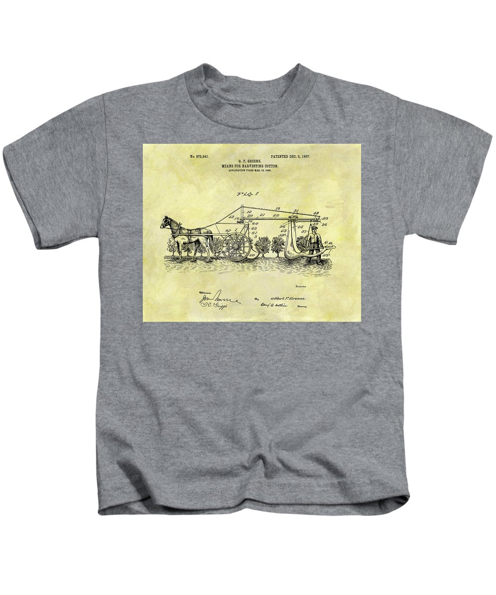 1907 Cotton Harvester Patent Kids T-Shirt featuring the mixed media 1907 Cotton Harvester Patent by Dan Sproul