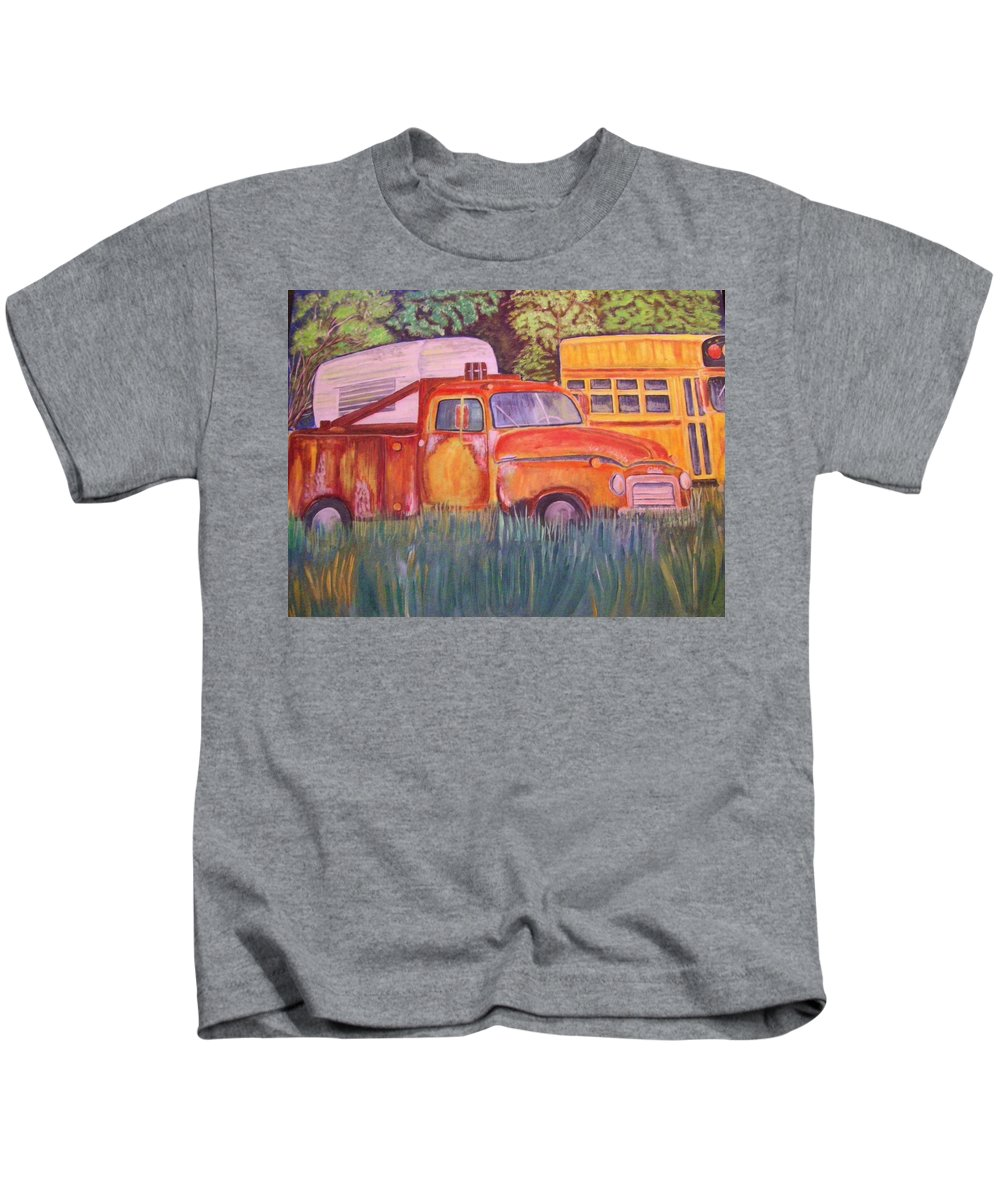 Acrylic Landscape Kids T-Shirt featuring the painting 1954 Gmc Wrecker Truck by Belinda Lawson