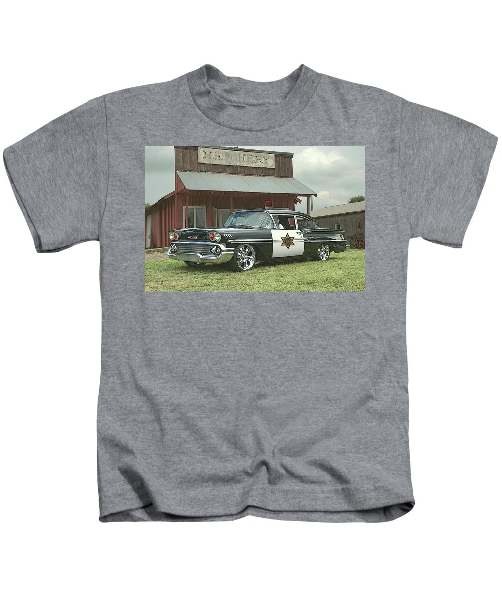 1958 Kids T-Shirt featuring the photograph 1958 Chevrolet Sheriffs Car by Tim McCullough