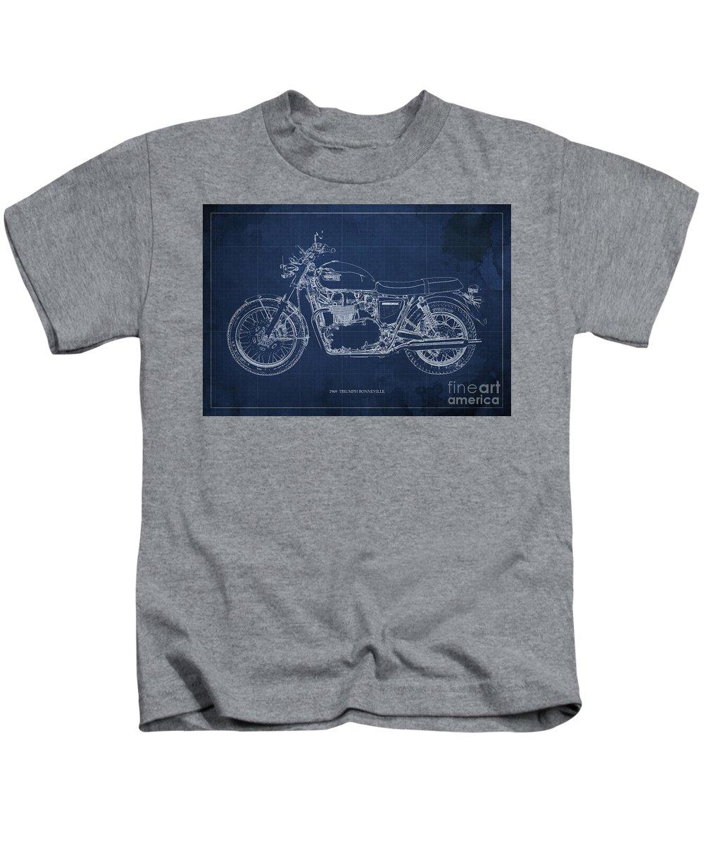1969 Kids T-Shirt featuring the drawing 1969 Triumph Bonneville Blueprint Blue Background by Drawspots Illustrations