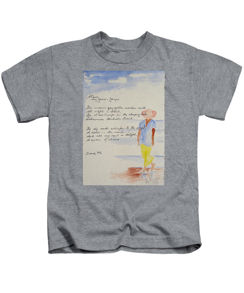 Love Heart Valentines Kids T-Shirt featuring the painting Alone by Roger Cummiskey
