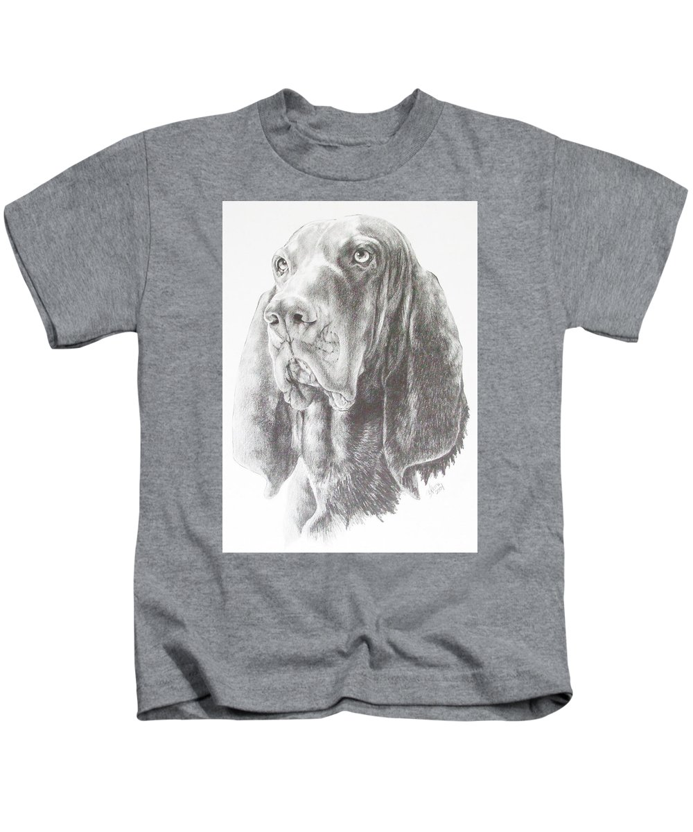 Purebred Dogs Kids T-Shirt featuring the drawing Black And Tan Coonhound by Barbara Keith