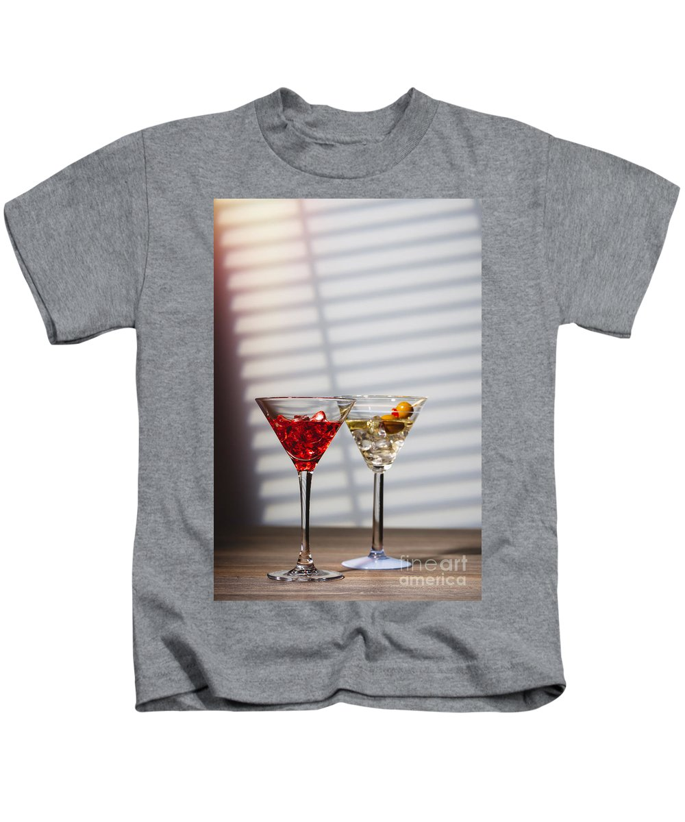 Cocktail Kids T-Shirt featuring the photograph Cocktails At The Bar by Amanda Elwell