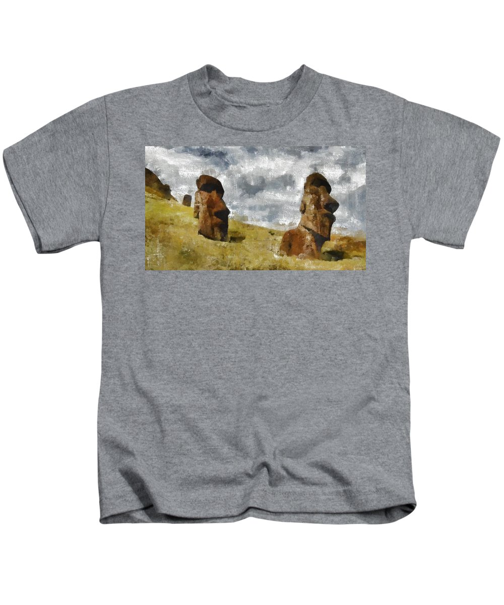 Fantasy Kids T-Shirt featuring the painting Easter Island by Mary Bassett