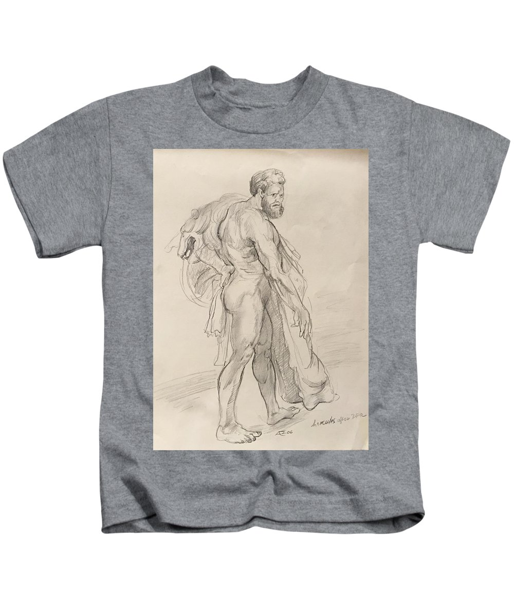 Kids T-Shirt featuring the drawing Hercules by Alejandro Lopez-Tasso