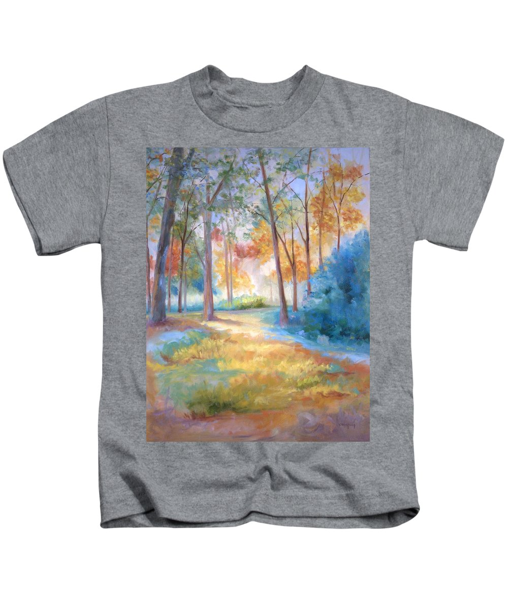 Wooded Paths Kids T-Shirt featuring the painting Homeward by Ginger Concepcion