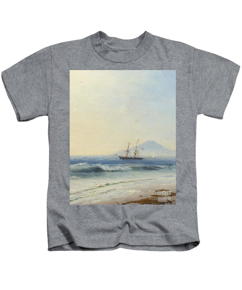 Ivan Konstantinovich Aivazovsky (russian 1817-1900) Ship At Sea Of The Island Of Capri Kids T-Shirt featuring the painting Ivan Konstantinovich Aivazovsky by MotionAge Designs