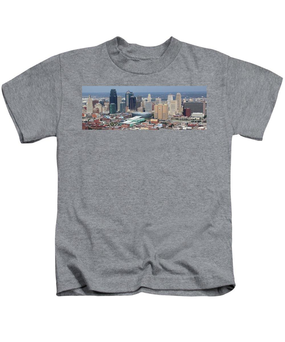 City Kids T-Shirt featuring the photograph Kansas City Skyline Panorama by Bill Cobb