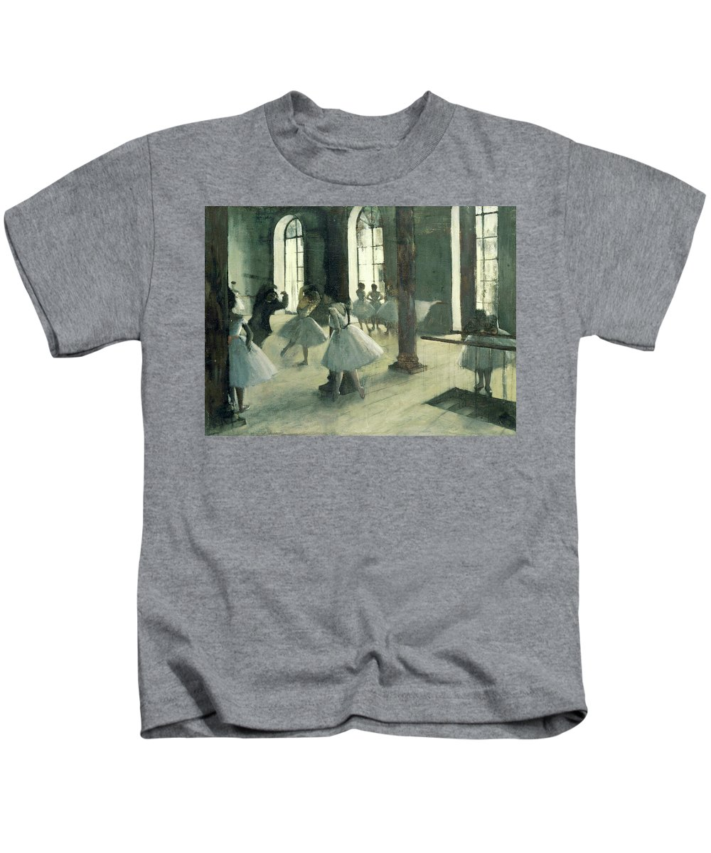 Dance Kids T-Shirt featuring the painting La Repetition Au Foyer De La Danse by Edgar Degas