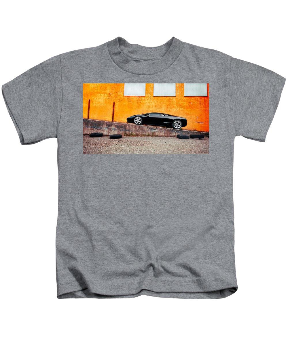 Lamborghini Kids T-Shirt featuring the digital art Lamborghini by Dorothy Binder