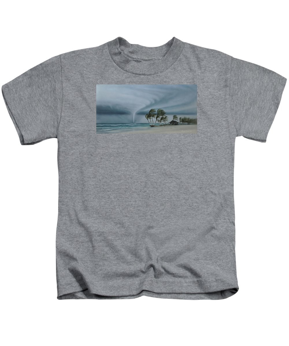 Kids T-Shirt featuring the painting Mahahual by Angel Ortiz