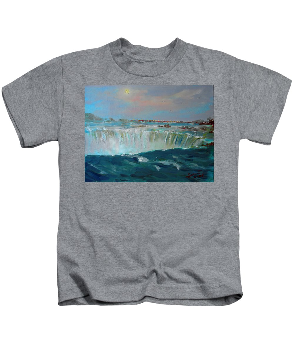 Landscape Kids T-Shirt featuring the painting Niagara Falls by Ylli Haruni