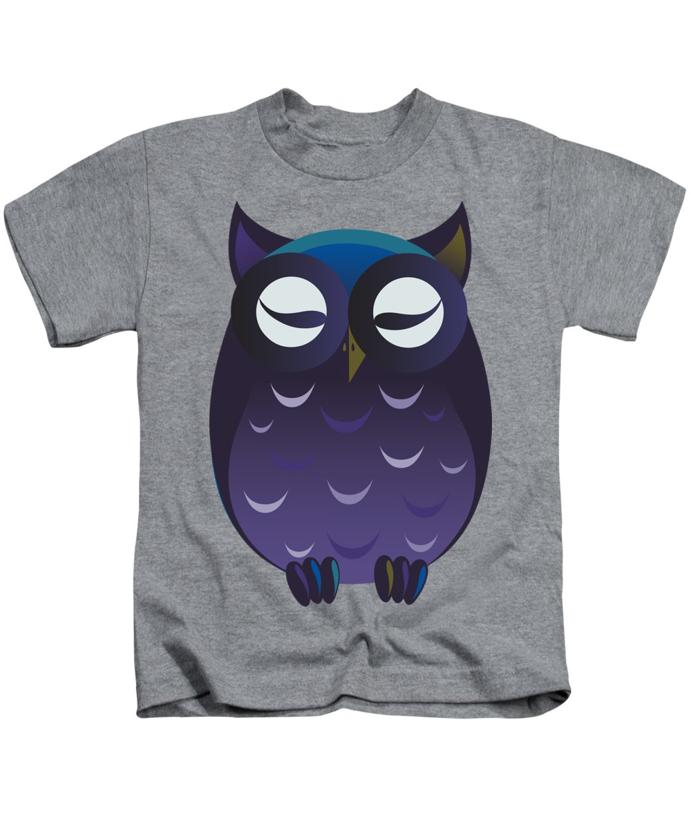 Animal Kids T-Shirt featuring the digital art Owl by Frederick Holiday