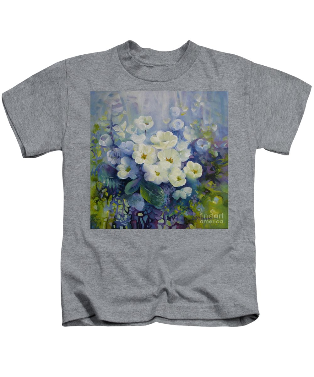 Primrose Kids T-Shirt featuring the painting Spring by Elena Oleniuc