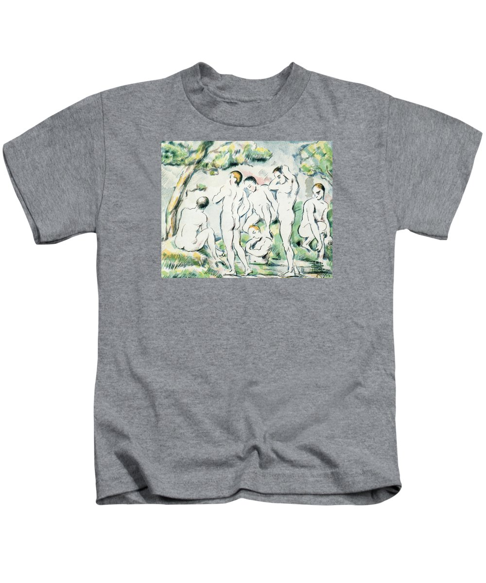 The Bathers Kids T-Shirt featuring the painting The Bathers by Paul Cezanne