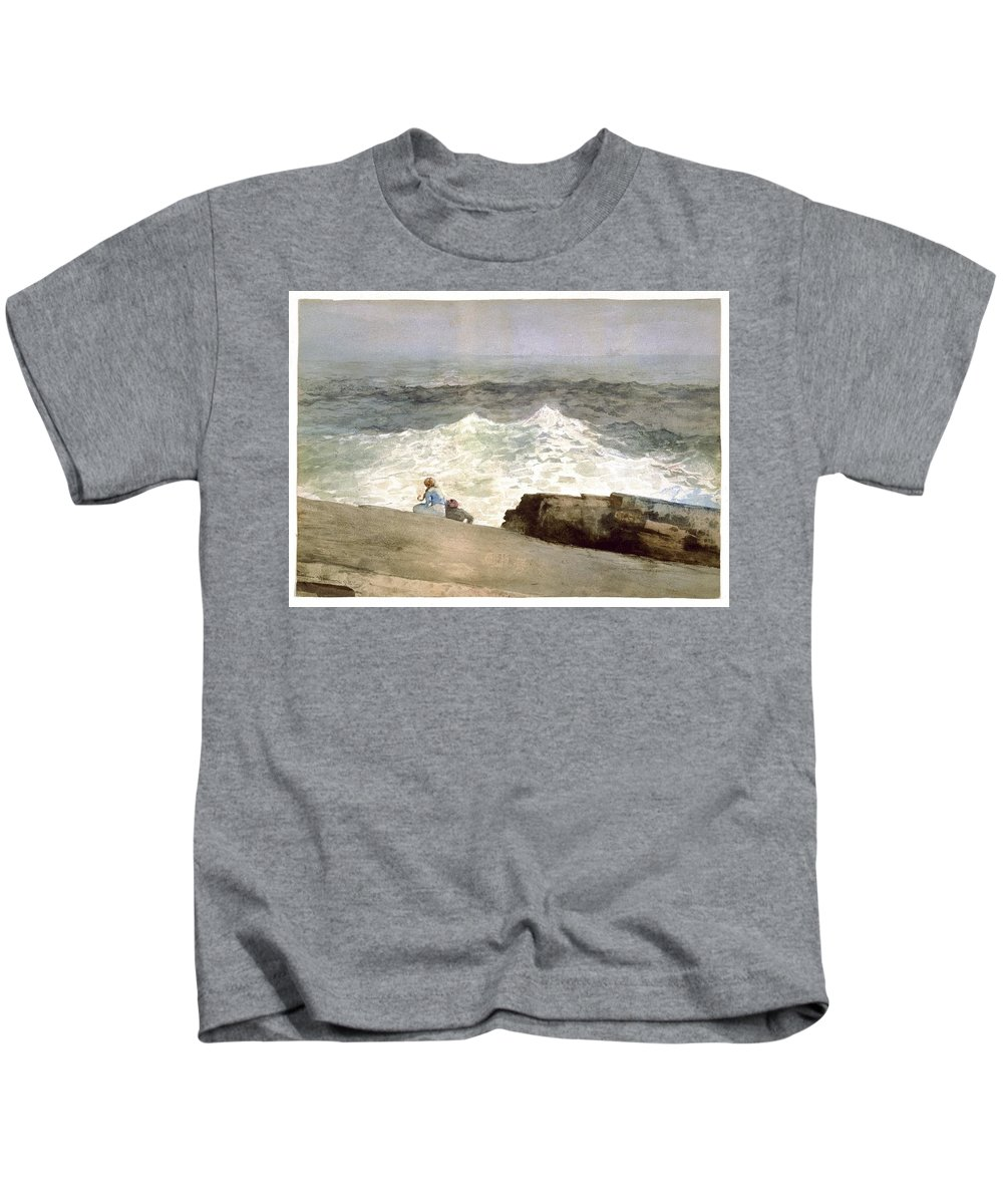 Winslow Homer (american Kids T-Shirt featuring the painting The Northeaster by Winslow Homer